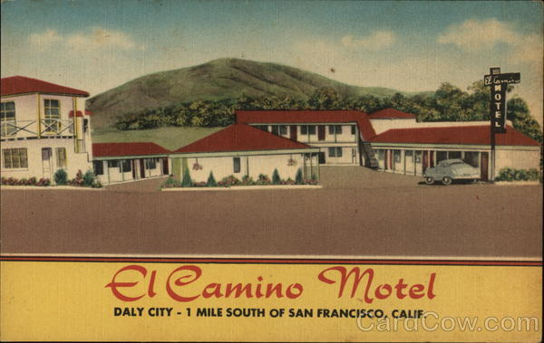 el camino motel daly city, ca postcard