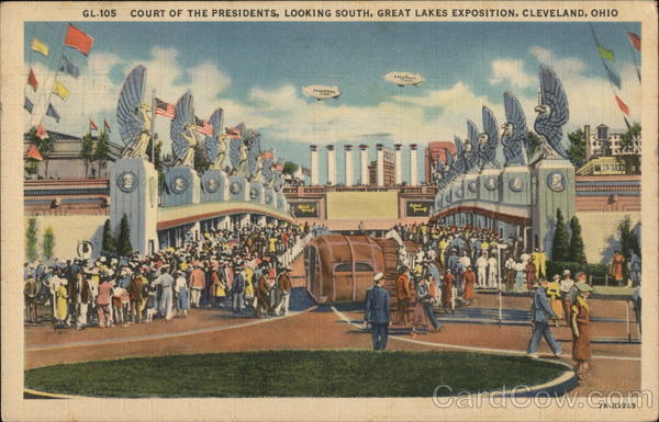 Court of the Presidents Looking South, Great Lakes Exposition Cleveland Ohio