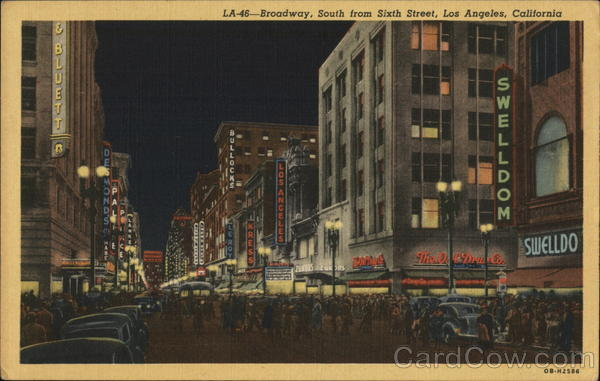 LA-46 - Broadway, South From Sixth Street Los Angeles California