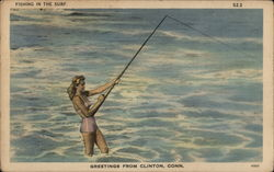 Fishing in the Surf Postcard