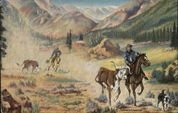 "Catching Cattle From Painting by L.H. ""Dude"" Larsen"