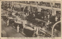 Chevrolet's Automobile Assembly Line, General Motors Building, Century of Progress Postcard