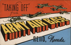 Taking Off From Army Air Base Postcard