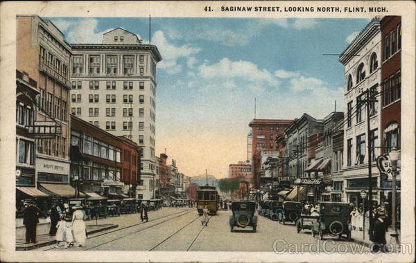 Saginaw Street, Looking North Flint Michigan