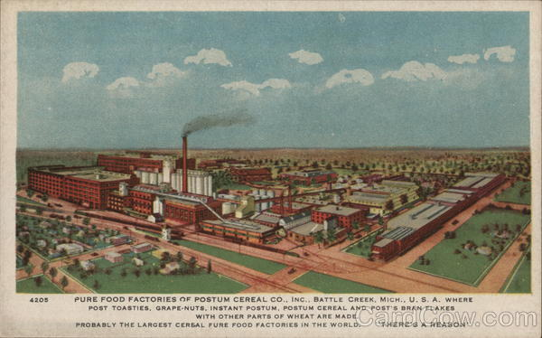 Pure Food Factories of Postum Cereal Co., Inc. Battle Creek Michigan