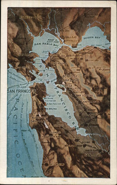 Topographical Map Of San Francisco Bay Area California Postcard This tool allows you to look up elevation data by searching address or clicking on a live google map. topographical map of san francisco bay area