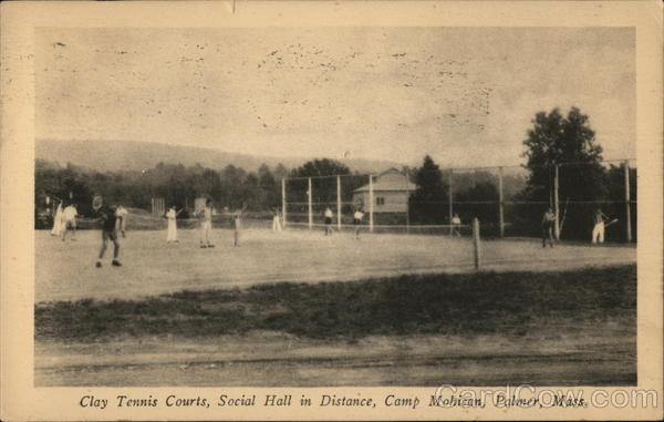 Clay Tennis Courts, Social Hall in Distance, Camp Mohican Palmer Massachusetts
