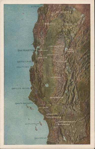 Topographical Map of Northern California Maps