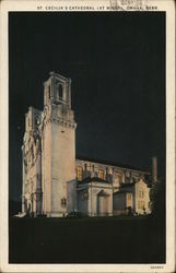 St. Cecilia's Cathedral (at Night) Omaha, NE Postcard
