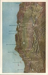 Northern California Topo Map Postcard