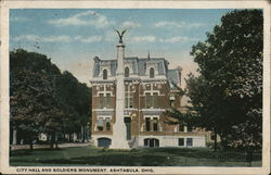 City Hall and Soldiers Monument Postcard