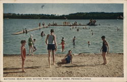 Bathing Beach and Diving Pier Postcard