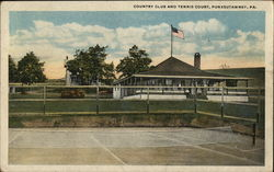 Country Club and Tennis Court Postcard