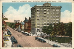 High Street, Looking East, Showing Rentschler Building and Masonic Temple