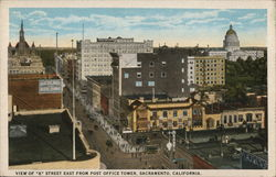 View of K Street from Post Office tower Postcard