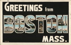 Greetings From Boston, Mass. Postcard