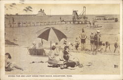 Diving Pier and Light House from Beach Postcard