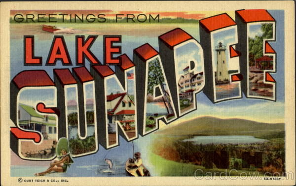 Greetings From Lake Sunapee New Hampshire Large Letter