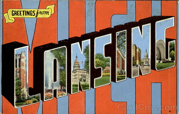 Greetings From Lansing Michigan Large Letter