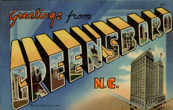 Greetings From Greensboro North Carolina Large Letter