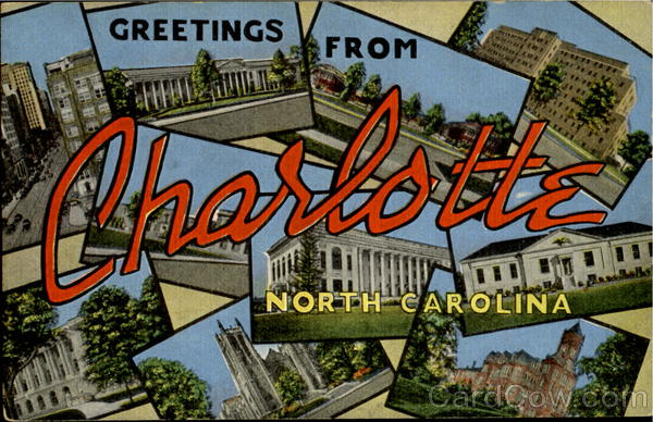 Greetings From Charlotte North Carolina Large Letter