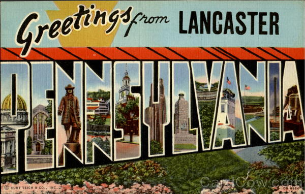 Greetings From Pennsylvania Lancaster Large Letter