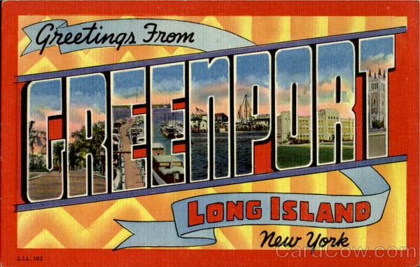 Greetings From Greenport Long Island New York Large Letter
