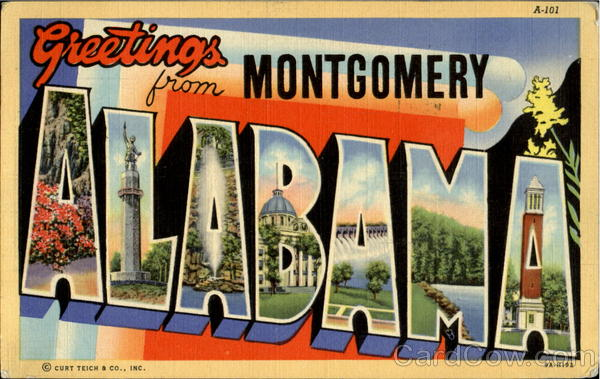 Greetings From Montgomery Alabama Large Letter