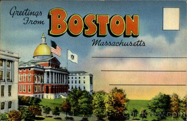 Greetings From Boston Massachusetts Large Letter