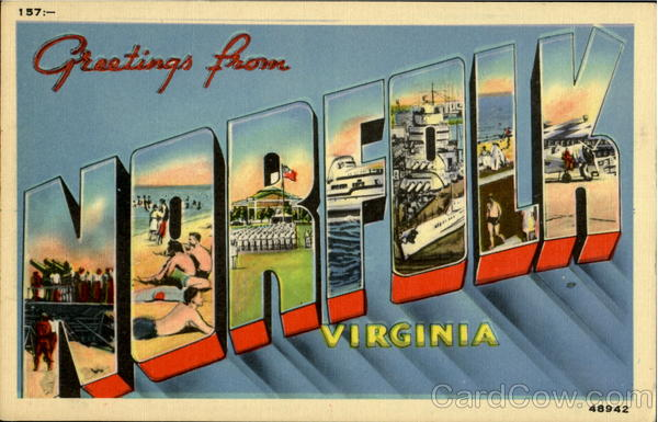 Greetings From Norfolk Virginia Large Letter