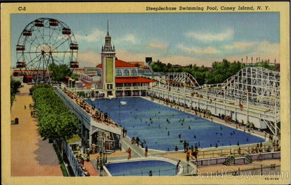 Steeplechase Swimming Pool Coney Island New York Amusement Parks