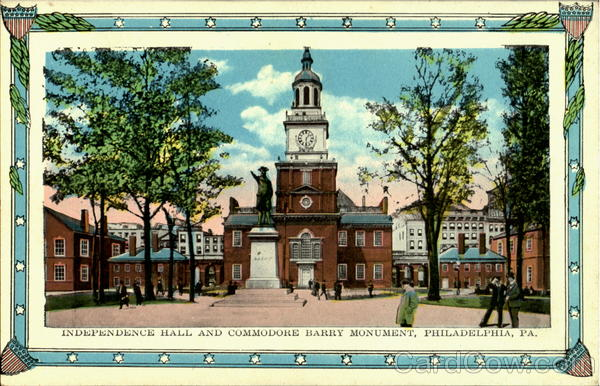 Independence Hall And Commodore Barry Monument Philadelphia Pennsylvania