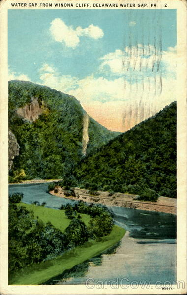 Water Gap From Winona Cliff Delaware Water Gap Pennsylvania