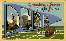 Greetings From Durham, Duke University Postcard