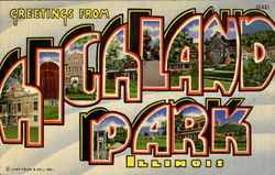 Greetings From Highland Park Postcard