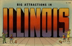 Big Attractions In Illinois Postcard