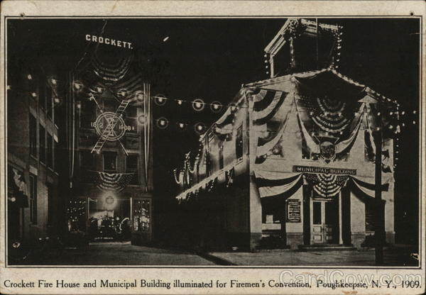 Crockett Fire House and Municipal Building Illuminated for Firemen's Convention Poughkeepsie New York