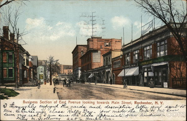 Business Section of East Avenue Looking Towards Main Street Rochester New York