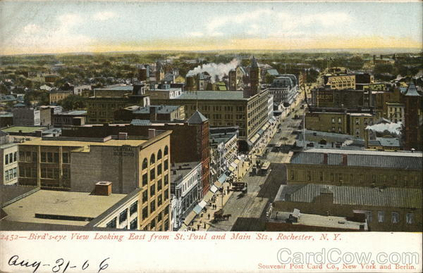 Birds' Eye View Looking East from St. Paul and Main Sts. Rochester New York
