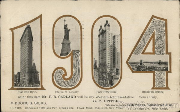 1904 - New York Scenes New York City Large Letter Dates