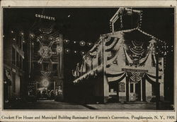 Crockett Fire House and Municipal Building Illuminated for Firemen's Convention