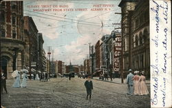 Albany Trust Co. Building, Broadway, State St., Post Office Postcard