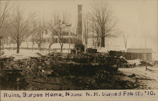 Ruins, Burpee Home, Burned Feb 18, 1910 Keene New Hampshire