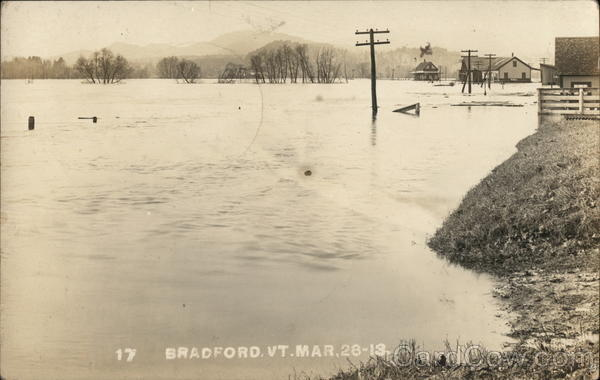 1913 Flood Site of Bradford Depot Vermont Disasters