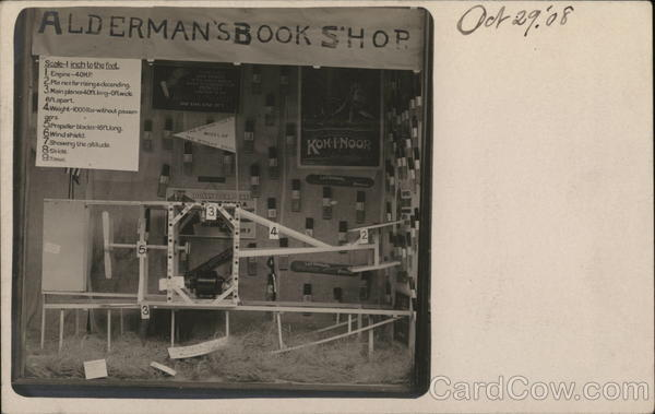 1908 Scale Model of Wright Brother's Plane in Alderman's Book Shop Dayton Ohio