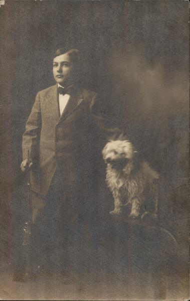 Portrait of Boy and Dog Dogs
