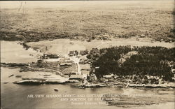 Air View of Sebasco Lodge And Cottages Showing Lighthouse and Portion of Golf Course