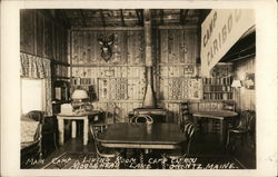 Main Camp Living Room, Camp Caribou, Moosehead Lake Postcard