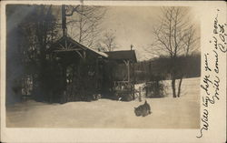 Cabin in Snow, Scottish Terrier Postcard