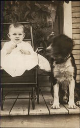 Baby in Carriage and Dog
